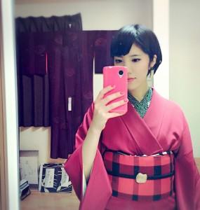 kimito,帯留,七宝焼,着物コーディネート,着物,赤