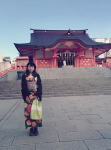 kimito,うさぎ小町,花園神社,着物コーディネート,新宿