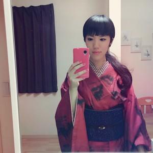 kimito,ろっこや,着物,七宝焼,着物コーディネート,帯留